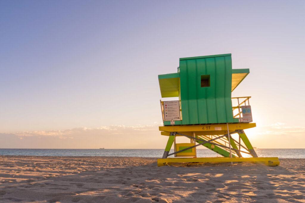 Lifeguard tower på Miami Beach.