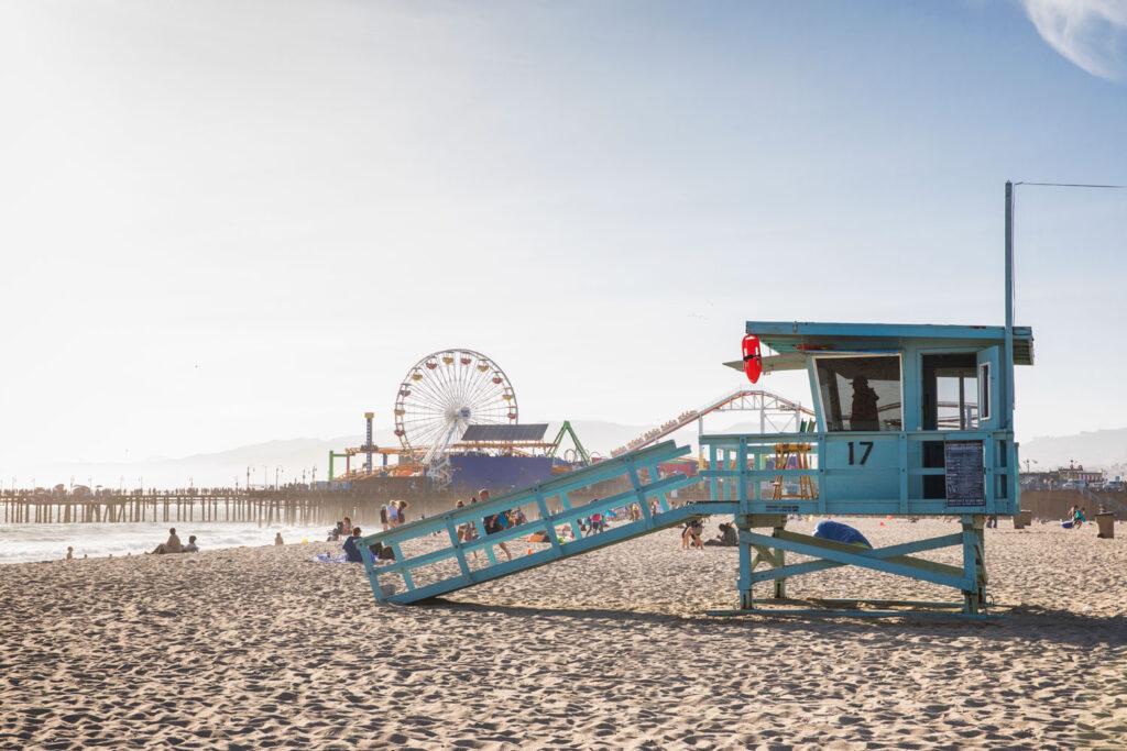 Livräddartorn på Santa Monica Beach, Kalifornien.