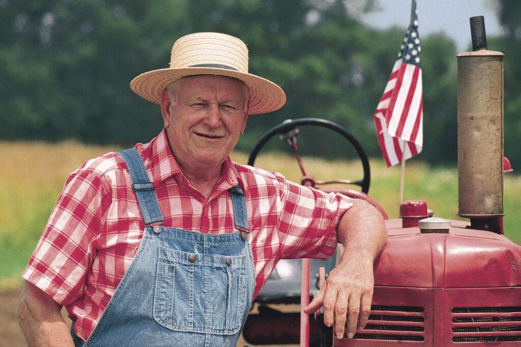 Amerikansk bonde med traktor.