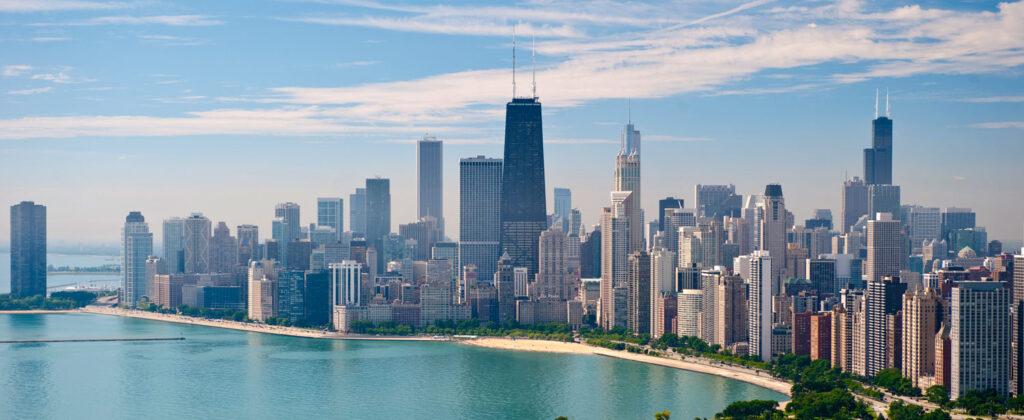 Staden Chicago sedd från ovan.