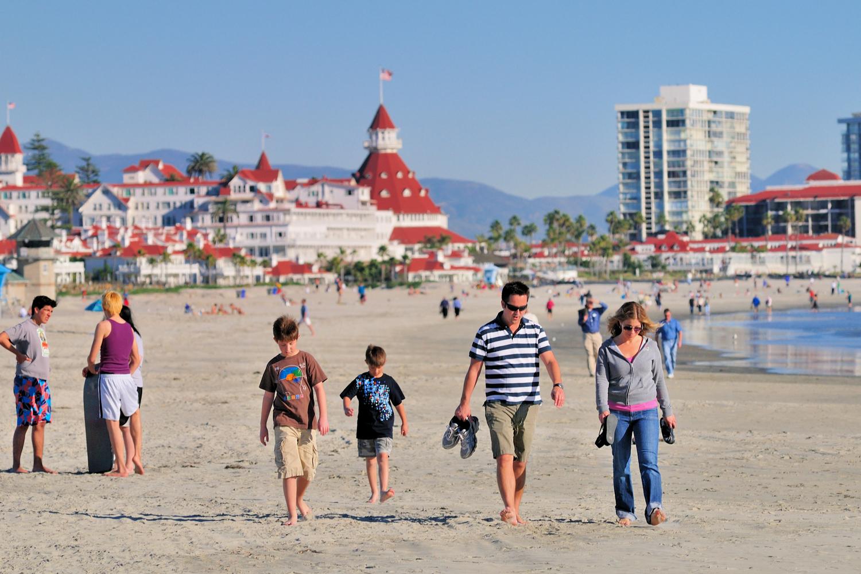 Coronado Beach i San Diego, Kalifornien.