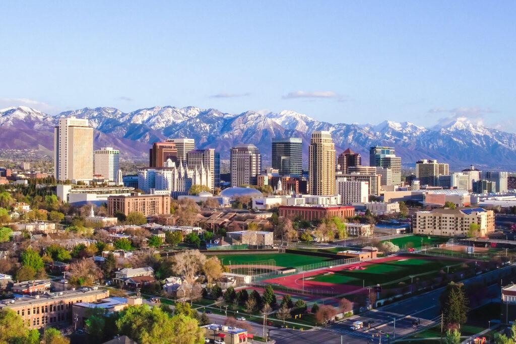 Stadsvy av Salt Lake City, Utah.