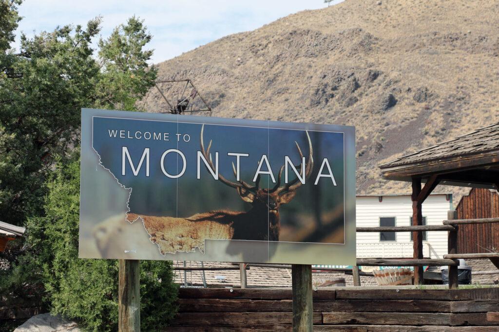 Välkomstskylt till Montana.