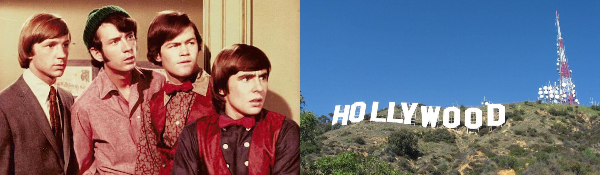 Bildkollage med The Monkees och Hollywood-skylt.