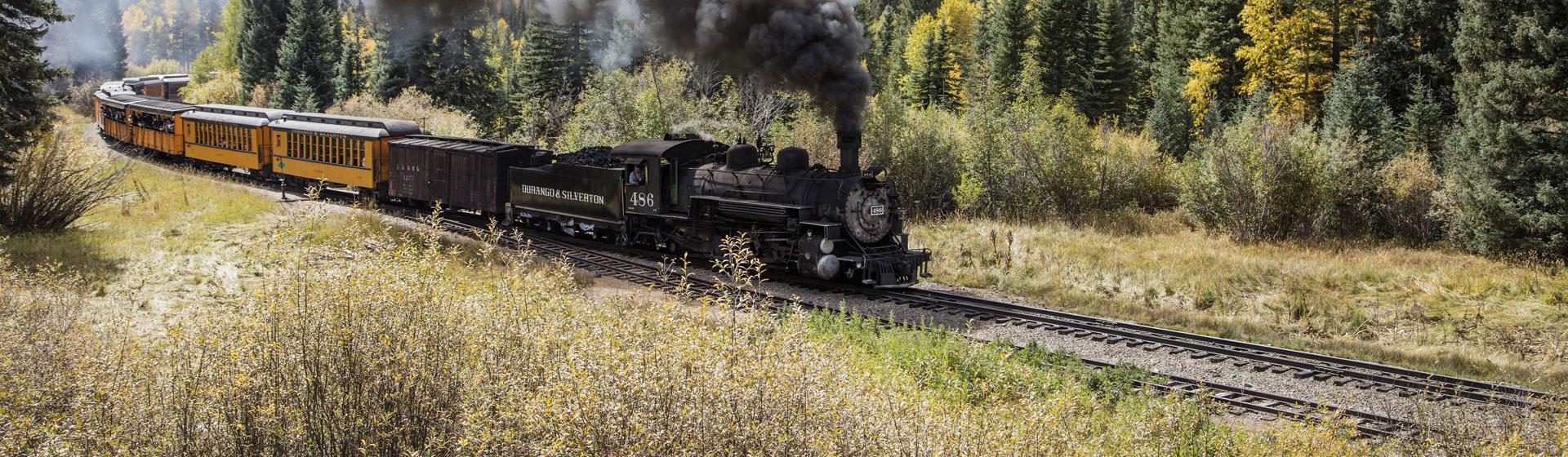 Tåglinje mellan Silverton och Durango i Colorado.