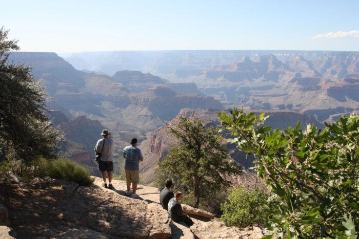 Människor tittar ut över Grand Canyon.