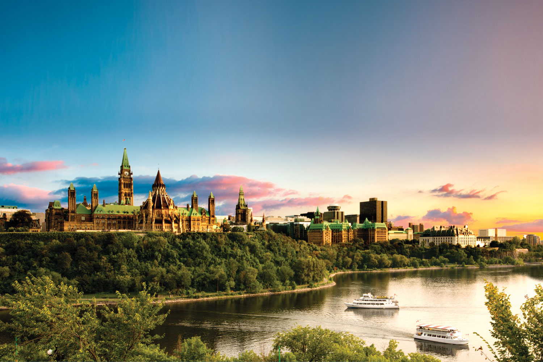 Vy över Parliament Hill i Ottawa.