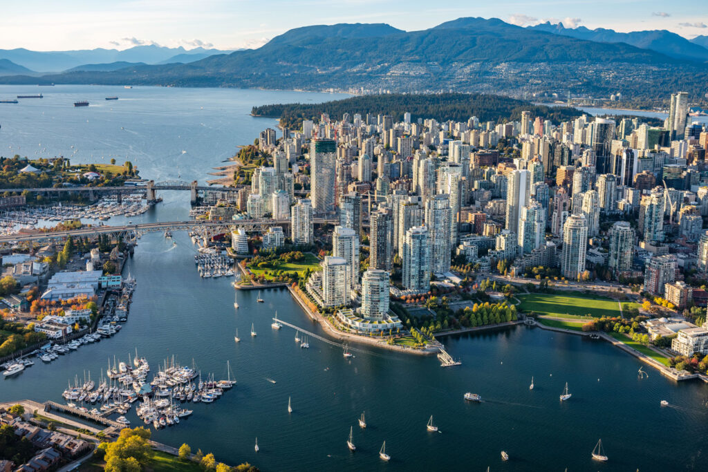 Flygvy över downtown Vancouver.