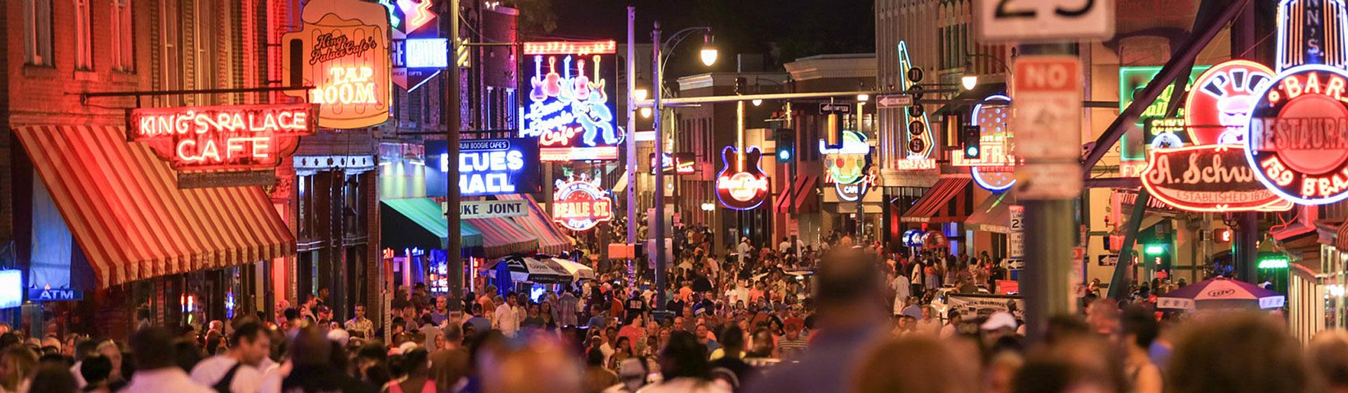 Beale Street i Memphis, Tennessee.